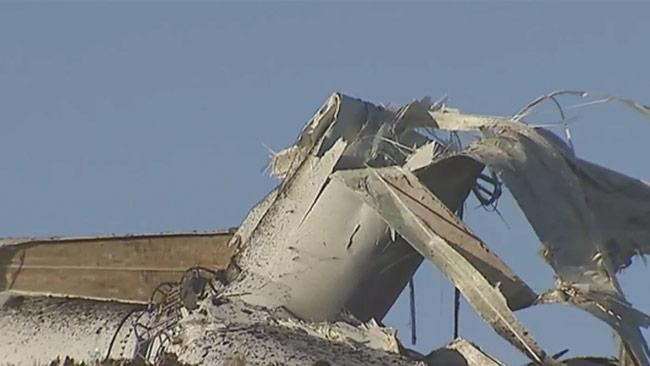 Här har vindkraftverket kraschat. Foto: Faksimil Youtube