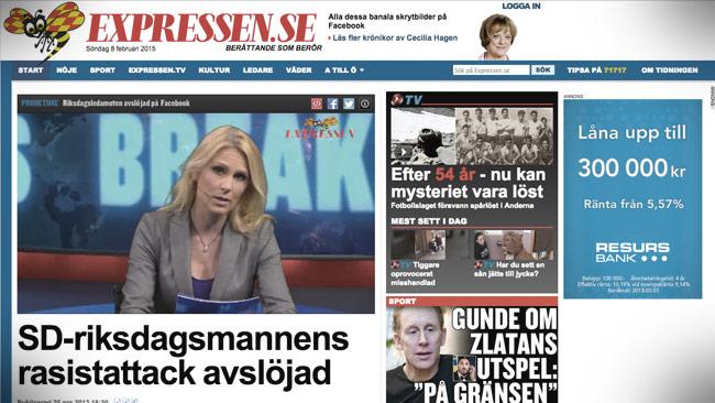 Ibland är det rasism, ibland inte, beroende på vem som sagt något. Tydligen. Foto: Faksimil expressen.se