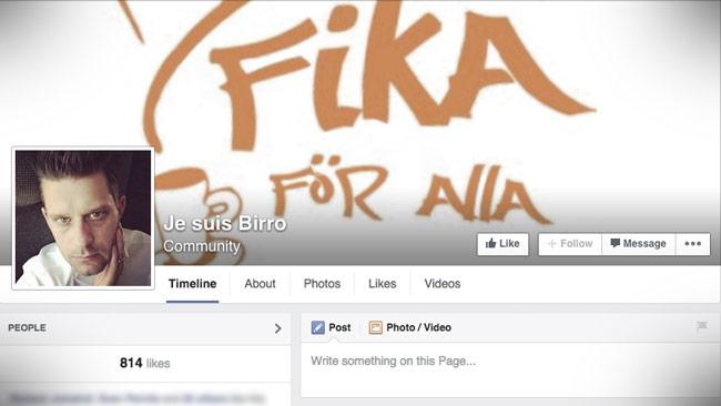 Här är nya Facebooksidan till stöd för Marcus Birro. Foto: Faksimil Facebook