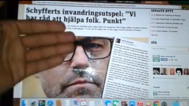 Emil Sanchez går till attack mot tidningn Metro och Henrik Schyffert. Foto: Faksimil ur Facebookvideon