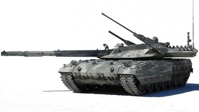 """Nya plattformen """"Armata"""" med påbyggnad i form av stridsvagn. Foto: Youtube"""