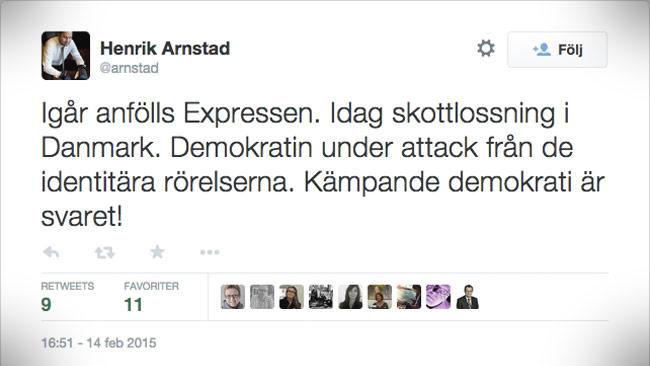 Henrik Arnstad anlitas ofta av medier som expert på bland annat fascism. Foto: Faksimil twitter.com