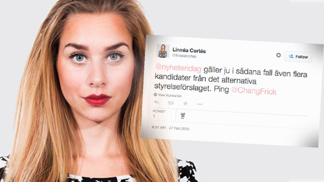 Linnea Cortés ger mothugg inför årsmötet. Bilden är ett montage. Foto: Profilbild Facebook /  Faksimil Twitter