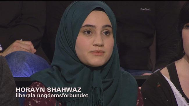 Horayn Shahwaz deltar i SVT Debatt. Foto: Faksimil svtplay.se
