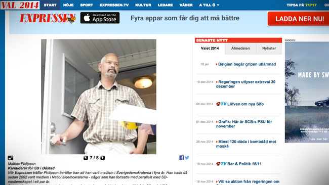 Här konfronteras Philipsson av Expressen för sitt politiska engagemang. Foto: Faksimil expressen.se