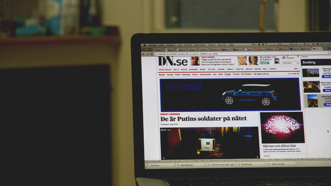 Dagens Nyheter avslöjar hur rysk propaganda sprids. Foto: Chang Frick / Nyheter Idag