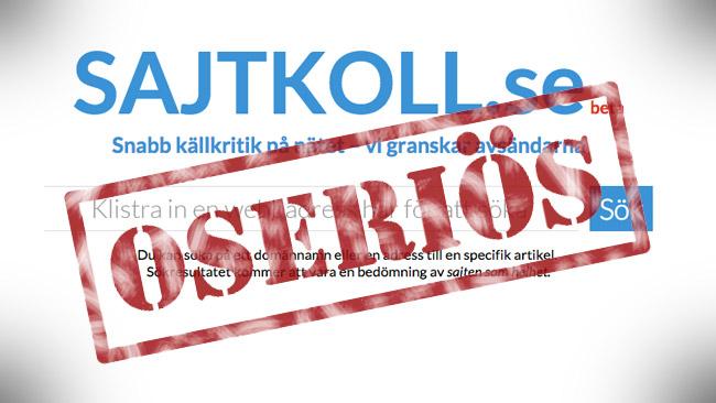 Det förefaller tyvärr som att sajtkoll är en oseriös sida. Bilden är ett montage. Foto: Faksimil sajtkoll.se