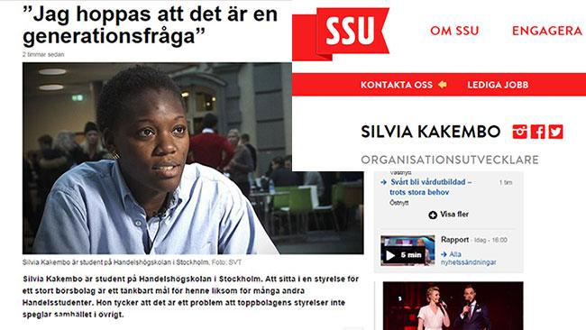 SVT presenterade Silvia Kakembo som enbart högskolestudent, men hon är i själva verket även aktiv i SSU. Fotot är ett bildmontage.