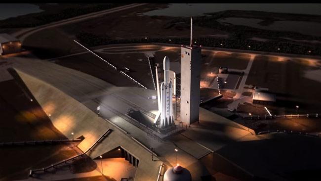 Animering av raketen Falcon Heavy. Foto: Faksimil Youtube