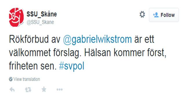 Tweeten som SSU Skåne påstås ha skrivit. Foto: Faksimil Twitter
