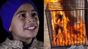 Till vänster en ung pojke som gläds åt videon. Till höger stillbild ur videon där en jordansk pilot avrättas. Foto: Faksimil ur videos