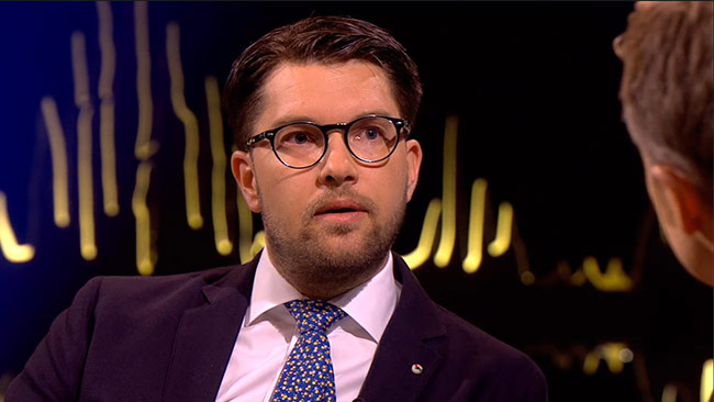Jimmie Åkesson gästar Skavlan i SVT. Foto: svtplay.se