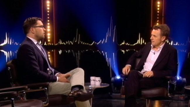 Jimmie Åkessons medverkan i programmet Skavlan väcker reaktioner. Foto: svtplay.se
