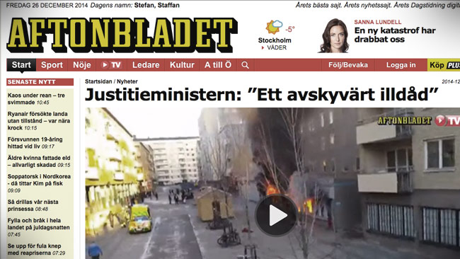 En av Aftonbladets artiklar om branden. Foto: Faksimil aftonbladet.se