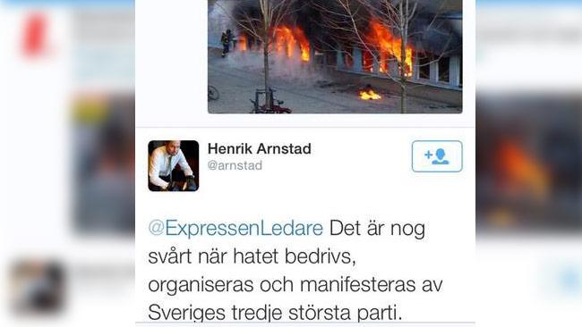"""""""Hat organiserat från SD"""", twittrade Henrik Arnstad om händelsen. Foto: Faksimil Twitter"""