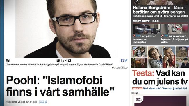 Daniel Poohl från Expo blev intervjuad i Expressen om moskébranden. Foto: Faksimil expressen.se