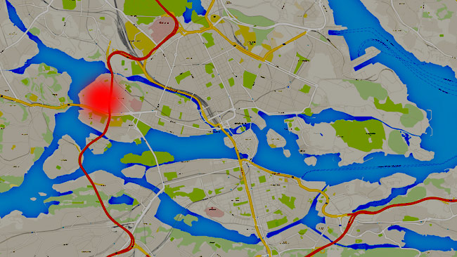 Vid den röda markeringen ska rånet ägt rum. Foto: Faksimil Google Maps