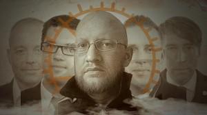 """SD-ledningen """"de fyras gäng"""" i bakgrunden och Mathias Wåg från Researchgruppen i förgrunden. Bilden är ett montage av Nyheter Idag."""