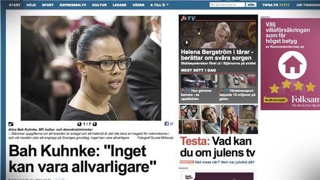 Kulturministern blev intervjuad i Expressen. Foto: Faksimil expressen.se