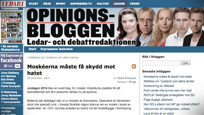 Expressens ledarblogg om moskébranden. Foto: Faksimil expressen.se