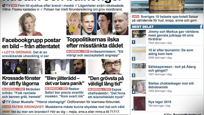 Såhär såg löpsedeln ut hos tidningen Expressen. Foto: Faksimil expressen.se