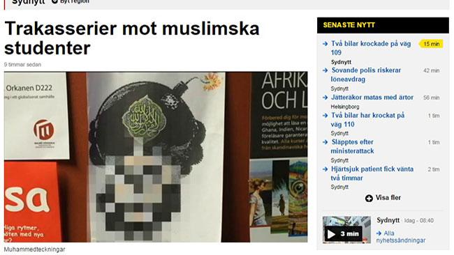 Den numera välkända Muhammedkarikatyren sattes upp på Malmö Högskola. Foto: Faksimil SVT Sydnytt