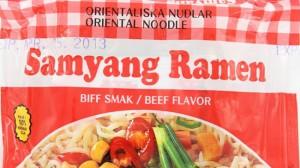 Samyang Ramen-nudlar med biffsmak. Åhhh vilka minnen. Foto: handla24.se