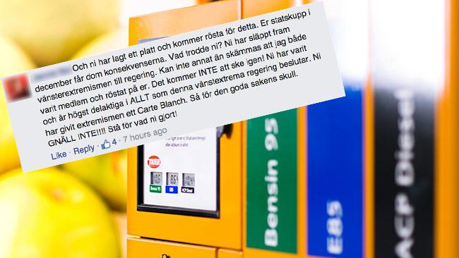 Nu rasar väljarna mot Alliansen när de rödgröna höjer skatten på drivmedel – tack vare Decemberöverrenskommelsen. Bilden är ett montage. Foto: Faksimil Facebook / CC Hans Berggren