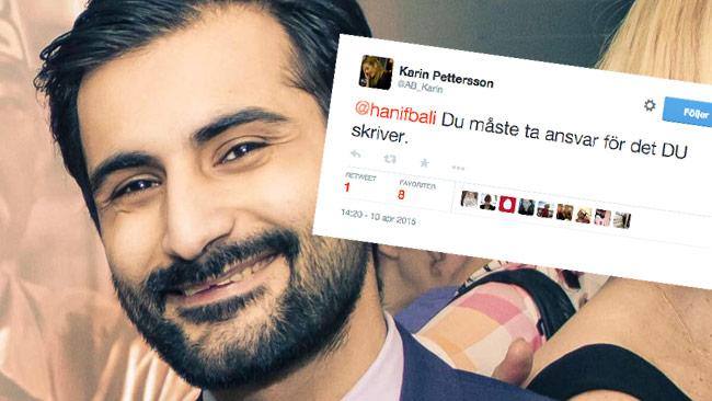 Hanif Bali skrattar fienden i ansiktet på Twitter. Bilden är ett montage. Foto: Balis Facebook / Twitter