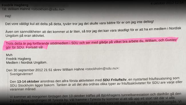 Hagberg var själv tveksam till att vara engagerad i SDU eftersom han då var dubbelansluten.