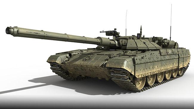 Renderad bild på nya vagnen T-14.