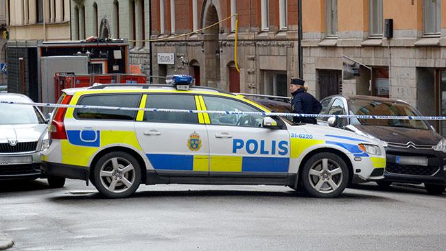 En av polisens avspärrningar. Foto: Nyheter Idag // Christoffer Jonsson