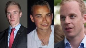 William Hahne (t.v), Axel Heder (mitten) och Gustav Kasselstrand (t.h). Foto: Pressbild  / Privat / Nyheter Idag