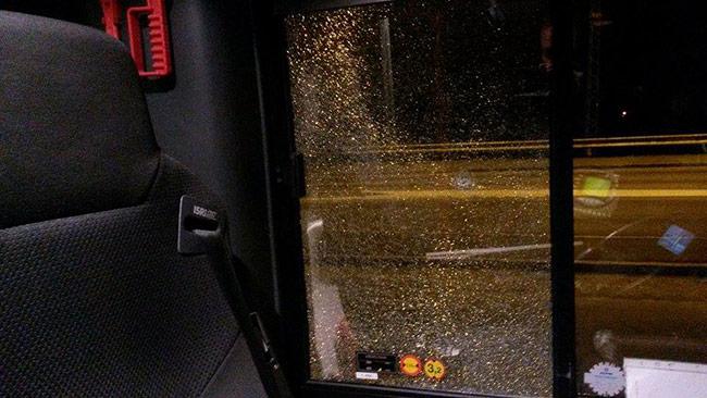 Här ser vi hur det såg ut inifrån bussen. Foto: Privat