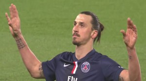 Zlatan firar sitt 99:e mål för Paris SG. Foto: Faksimil Youtube