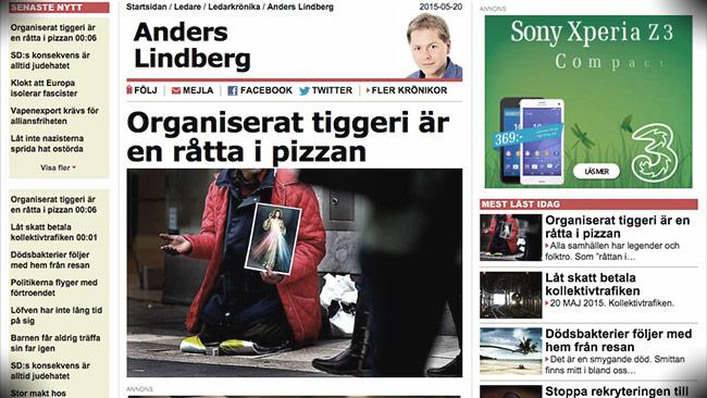 Anders förefaller själv vara ute på hal is. Foto: Faksimil aftonbladet.se