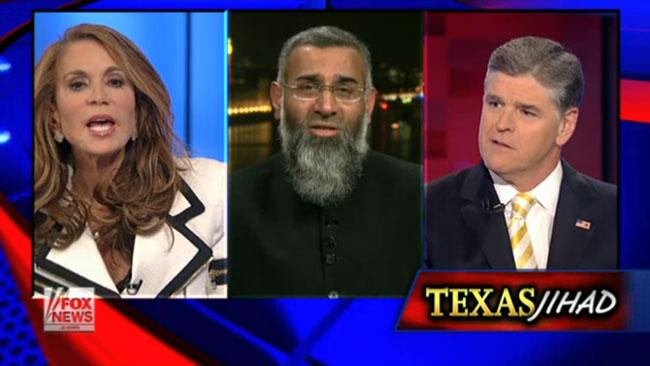 Pamela Geller, Anjem Choudary och Sean Hannity skrek mycket på varandra på bästa sändningstid. Foto: Faksimil Fox News