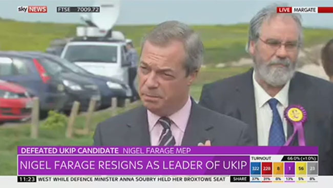 Nigel Farage har avgått som partiledare för UKIP. Foto: Faksimil Sky News