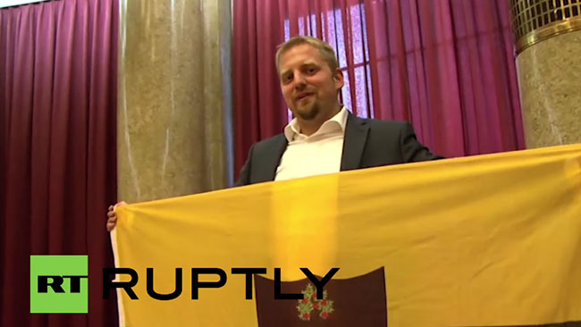 Liberländske presidenten Vít Jedlička utropade Liberland för en månad sedan. Foto: RT Ruptly