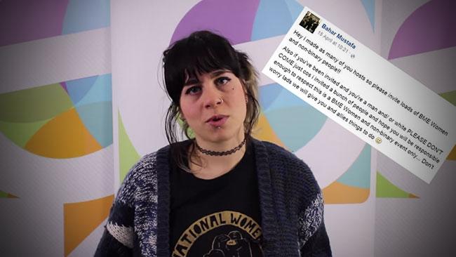 Feministen och antirasisten Bahar Mustafa gillar inte vita män, alls. Bilden är ett fotomontage / Faksimil Youtube, Facebook.