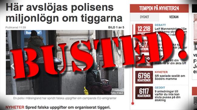 Nej, än så länge finns inget som visar att polisen faktiskt ljugit. Bilden är ett montage. Foto: Faksimil nyheter24.se