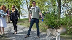 Här ser vi Oscar Sjöstedt hålla den misstänka hunden i koppel. Foto: Sven Pernils
