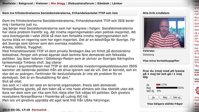 """Det ursprungliga inlägget om """"frihetsrörelser"""" som nu är raderat. Foto: Faksimil s-info.se"""