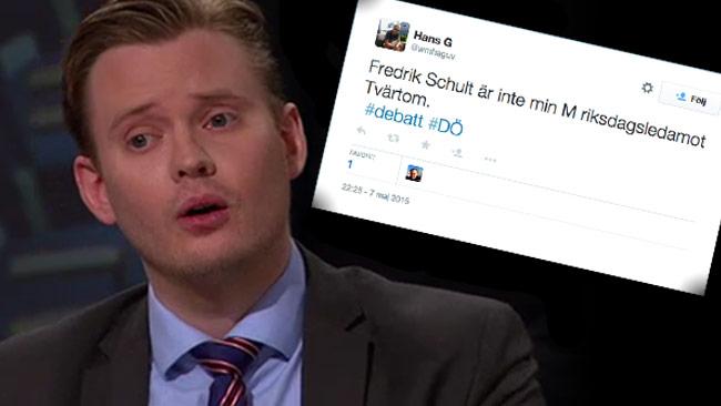 De moderata väljarna var inte helt övertygade av Schultes argument. Foto: Faksimil svtplay.se / Twitter