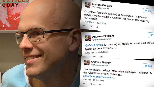 Andreas Ekström och hans berömda tweets. Foto: CC Frankie Fouganthin / Wikimedia Commons, samt Faksimil Twitter