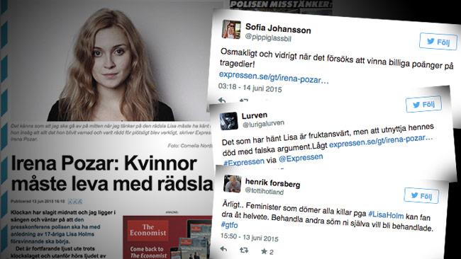 """Irena Pozar skyller det som hänt på """"män"""" och folk reagerar kraftigt. Foto: Faksimil Expressen / Twitter"""