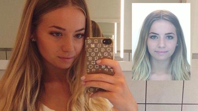Lisa Holm. En selfie till vänster och den bild polisen gick ut med till höger.