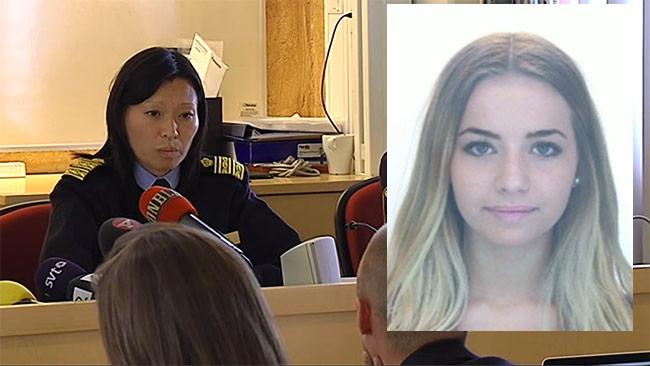 Polisen höll presskonferens i Skövde med anledning av Lisa Holm. Foto: svtplay.se / Polisen