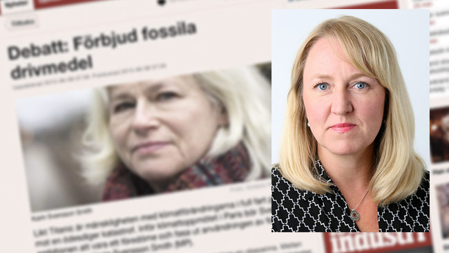 Svenskt Näringslivs expert Maria Suner Fleming totalsågar Karin Svensson Smith. Foto: svensktnarinsliv.se / Bakgrund: Faksimil di.se