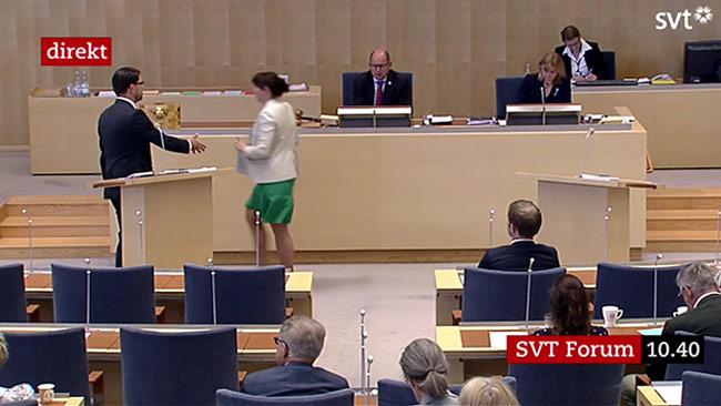Romson ville inte ta Åkesson i hand. Foto: Faksimil svtplay.se